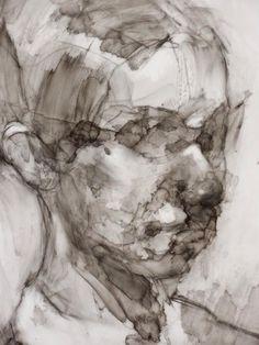 """Damian Goidich """"Hoe interessant een portret kan zijn ZONDER de juiste details, maar wel aanduiding merken op de juiste plaatsen: ogen+mond."""""""