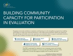 Building community capacity for participation in evaluation Community Places, Creating Communities, Community Building, Reading Lists, Effort, Organization, Learning, Getting Organized, Organisation