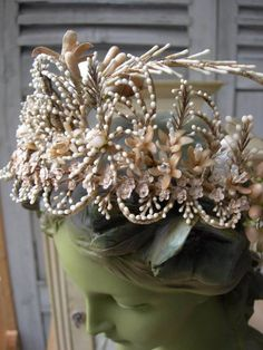 Exquisite antique French wax flowers & buds wedding crown tiara - 1860s