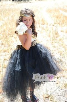Flower Girl Dress with Leopard Sash Black and by punknpiecouture, $75.00. I love the bustled longer back.