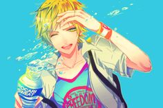 original, ibuki (mangaka), bag, blonde, blue background, bottle, looking at viewer, male, open mouth, simple background, solo, teeth, water, water droplets, wink, wristband, png conversion | Sankaku Channel