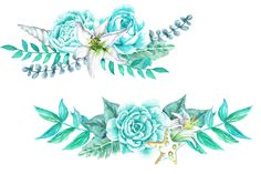 Aqua Flower & Shell Wedding Bouquets by Dora Katona on Leaf Clipart, Flower Clipart, Watercolor Drawing, Watercolor Flowers, Floral Illustrations, Graphic Illustration, Graduation Wallpaper, Scrapbook Recipe Book, How To Make Scrapbook