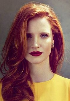 Celebrity Jessica Chastain Red Color Hair For Woman
