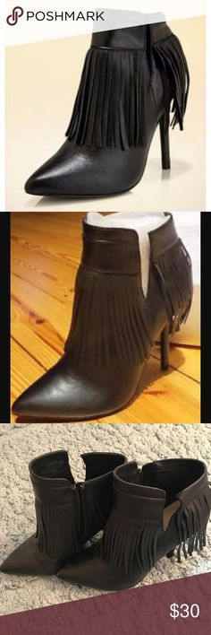 Boston proper fringe botties This are in good used condition they have some little scratch in the toe area but overall good condition only used them twice Boston Proper Shoes Ankle Boots & Booties