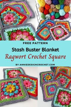 A free crochet pattern for a beautiful textured Flower square. Pattern includes a step by step tutorial to help beginners. Crochet Flower Squares, Crochet Squares Afghan, Granny Square Crochet Pattern, Crochet Flowers, Crochet Square Blanket, Crochet Granny, Crochet Motif Patterns, Crochet Stitches, Needlepoint Stitches