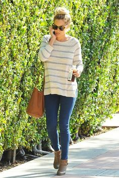 A great weekend uniform: striped sweater, denim, booties and a bucket bag! (Lauren Conrad)