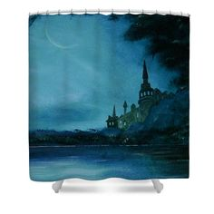 Shower Curtain,  bathroom,accessories,unique,fancy,cool,trendy,artistic,awesome,beautiful,modern,home,decor,design,theme,for,sale,unusual,items,products,ideas,color,blue,teal,turquoise,medieval,castle,fantasy,fairy tale,fine at america