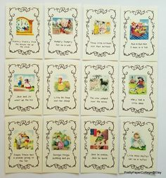 Nursery Rhyme 46 inch Prints for Framing 12 Card Vintage Mother Goose Storybook Theme Baby S Nursery Rhyme Party, Nursery Themes, Girl Nursery, Nursery Decor, Nursery Songs, Nursery Prints, Nursery Ideas, Baby Shower Songs, Baby Boy Shower