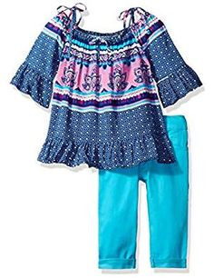 Little Girls' Off the Shoulder Top and Stretch Twill Capri Pant, Multi, Beautiful print off the shoulder top with adjustable straps and ruffle hem. Turquoise stretch twill 5 pocket styled capri pant has rolled cuff. Outfit Sets, Latest Fashion Trends, Clothing Sets, Off The Shoulder, Girl Fashion, Girl Outfits, Capri Pants, Polo, Clothes
