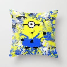 Splatter Painted Minion  Throw Pillow by Trinity Bennett - $20.00