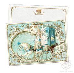 Snow Queen Christmas note cards fairy angel horse by mulberrymuse, $15.95