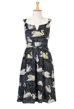 I think I may have found my new favorite site. Custom clothing made to your height/measurements. Plus this is a SWAN PRINT DRESS.