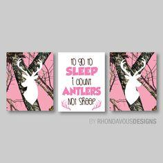 Pink Camo Deer Head Print Trio Tree Camouflage Antlers Buck Hunting Girl Kid Child Nursery You Pick the Size - Baby girl nursery room, Baby bedroom, Camo nursery, Baby - Rifles, Nursery Room, Baby Room, Camouflage Rose, Camo Rooms, Camo Room Decor, Little Mac, Pink Mossy Oak, Hunting Girls