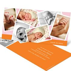 You have so many wonderful snapshots of your new baby girl, so show them off to family and friends! These custom birth announcements feature an array of snapshots on both the front and back, giving you plenty of moments to share.