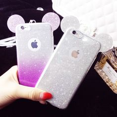 Mickey Minnie mouse ears Glitter Gradient Soft TPU Phone Case For iPhone 5 SE 6 6S 6Plus With Hang rope back cover coque capa