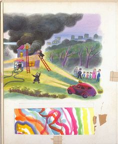 "Tibor Gergely,  the right half of an original illustration for ""Five Little Firemen"" 1942"