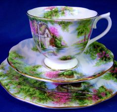 """Royal Albert """"The Old Mill"""" 1950s Countess Shape - https://www.facebook.com/RApatterns/photos/pb.258723708457.-2207520000.1396126161./10151962378763458/?type=3&theater"""