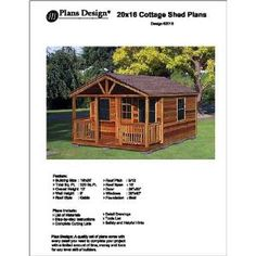 #Momcave - 20' X 16' Cottage Shed with Porch Project Plans -Design #62016