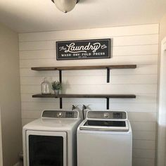 Minimalist Small Laundry Room Design And Decor Ideas ~ Laundry Room Shelves, Laundry Room Remodel, Farmhouse Laundry Room, Laundry Room Organization, Laundry Room Design, Laundry Closet, Farmhouse Decor, Laundry Drying, Storage Shelves