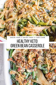 Healthy Green Bean Casserole (Dairy-Free, Keto, Gluten-Free) - The Roasted Root Dairy Free Sauces, Dairy Free Keto Recipes, Dairy Free Soup, Dairy Free Diet, Healthy Recipes, Dairy Free Thanksgiving Recipes, Thanksgiving Sides, Ketogenic Recipes, Chili Recipes
