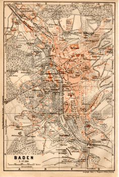 1909 BadenBaden Germany Antique Map by Craftissimo on Etsy