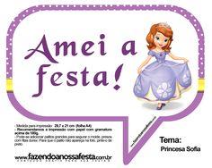 Plaquinhas Divertidas Princesa Sofia 23