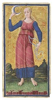 Visconti B Tarot Deck Fragment: Queen of Tarot Tarot Card Decks, Tarot Cards, The Moon Tarot, Tarot Astrology, Tarot Major Arcana, 17th Century Art, Strange History, Ancient Aliens, Moon Art