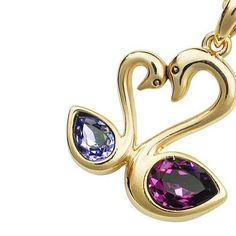 Fancy 18k Gold Plated Amethyst Purple and Lavender Swarovski Austrian Crystal Elements Elegant Double Loving Swan Women Charm Pendant Necklace with Free 16.5 Inch Chain Crystal Jewelry by Starjay Austrian Crystal Necklace, http://www.amazon.com/dp/B007S308A4/ref=cm_sw_r_pi_dp_YV3Fpb0H2QGRZ