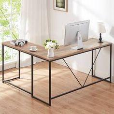 Beachcrest Home Cyra L Shaped Desk & Reviews | Wayfair Study Office, Home Office, L Computer Desk, Room Corner, Corner Office Desk, Pipe Desk, Solid Wood Desk, Best Desk, Office Essentials