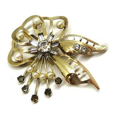 410919528fe Pearl and Rhinestone Brooch - Vintage, Carl Art Signed, 12K Gold Filled,  Faux Pearls, Rhinestones Pin, Pendant