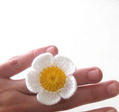 Daisy Crochet Ring White Yellow by Iovelycrochet on Etsy, $12.00