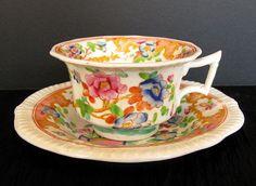 Joseph Machin  Cup & Saucer, English Porcelain Chinoiserie, Antique 19thC