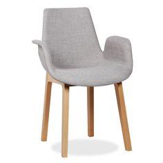 *  Confortável cadeira forrada em tecido. *  Design muito versátil. Combina facilmente com diversos estilos. *  Pés em madeira de faia. *  Disponível em 4 tecidos diferentes. Uma cadeira de estilo clássico, muito confortável e com braços. Desfrute de um conforto total com um estilo simples e funcional que nãoesquece a beleza das linhas.