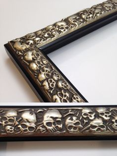 Skull Picture Frame Silver Picture Frame by WholesaleFrame Unique Picture Frames, Silver Picture Frames, Skull Decor, Skull Art, Skull Pictures, Gothic House, Frame It, Gold Texture, Creepy