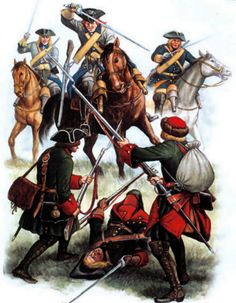 Charge of the Swedish cavalry against Russian troops, Battle of Fraustadt, Great Northern War