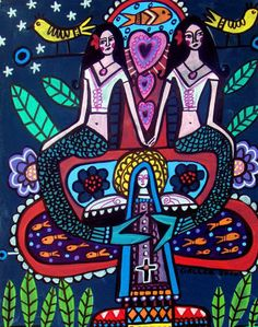 Mermaids Mexican Folk Art Virgin of Guadalupe Tree of Life Candle Poster Print