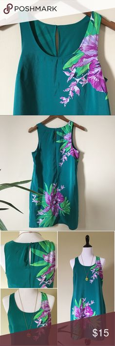 """Silk Shift Dress Real silk shift dress, full poly liner. Gorgeous real color with purple accented flowers. NO TAGS priced accordingly. 33""""L 19""""W 18""""B Dresses"""