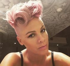 Red or Pink Hair Color Tones-Pink Bob Balayage, Pink Haircut, Eyebrow Game, Mohawk Hairstyles, Pink Hairstyles, Punk Princess, Salma Hayek, Hair Goals, New Hair