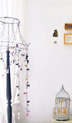 Nice idea to diy the standing lamp. use an old lamp shade's framework. a crop via thebooandtheboy