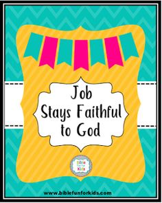 Job stays faithful to god lesson, ideas and printables sunday school Preschool Bible Lessons, Bible Object Lessons, Bible Lessons For Kids, Bible Activities, Bible Story Crafts, Bible Stories For Kids, Bible Crafts For Kids, Kids Sunday School Lessons, Sunday School Activities
