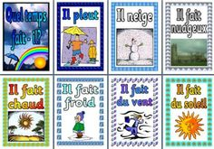 Printing Education For Kids Printer To Learn French Pictures Info: 3123356980 Learning French For Kids, French Language Learning, German Language, Weather Vocabulary, Vocabulary Cards, Teaching Displays, Classroom Displays, French Teaching Resources, Teaching French