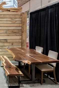 Roca Wood Works Toronto provides high quality salvaged live edge and reclaimed wood, barn boards and harvest tables which are locally sourced. Live Edge Furniture, Loft Furniture, Custom Made Furniture, Living Furniture, Living Room Interior, Rustic Furniture, Furniture Making, Wood Slab Dining Table, Rustic Kitchen Tables