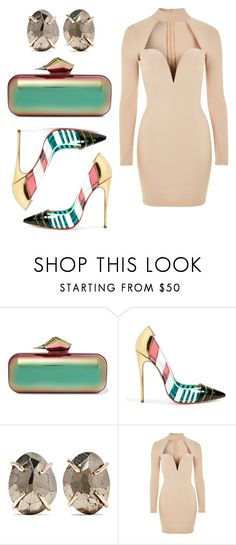 """elgant crazy look"" by kaja-232 ❤ liked on Polyvore featuring Jimmy Choo, Christian Louboutin, Melissa Joy Manning and Rare London"