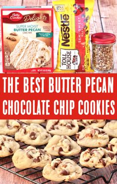 Chocolate Chip Cookies Recipe - Butter Pecan Cake Mix Cookie! With just 5 ingredients, this decadent treat will be one of the EASIEST desserts you'll ever make! They're soft, rich, chocolately, and AMAZING! Go grab the recipe and give them a try this week! Cake Mix Cookie Recipes, Delicious Cookie Recipes, Cake Mix Cookies, Best Cookie Recipes, Yummy Cookies, Cake Mixes, Cupcakes, Butter Pecan Cookies, Pecan Chocolate Chip Cookies