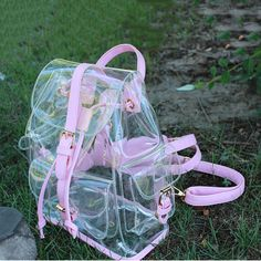 2016 Jelly Shoulder Bag Summer New Transparent Bags Korean Version Casual Female. 2016 Jelly Shoulder Bag Summer New Transparent Bags Korean Version Casual Female Bag Clear Personalized Backpacks Source by nowshop. Pastel Backpack, Backpack Bags, Duffle Bags, Messenger Bags, Travel Backpack, Fashion Bags, Trendy Fashion, Fashion Ideas, Pop Punk Fashion