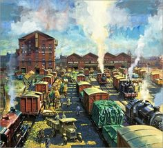It has been said that collecting classic toy trains in the world's greatest hobby. Many of today's collectors received their first toy train set when they were young, often as a Christmas or birthday present. Train Pictures, Comic Pictures, Ho Trains, Model Trains, Harry Green, Garden Railroad, Train Art, Model Train Layouts, Nottingham