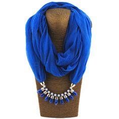 Charms Scarf 2017 Women Fashion Luxury Bosnia Bullet Pendant Scarf Jewelry Scarves Necklace Scarf Blue Black White Designer