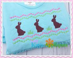 Baby Kay's Appliques - Bunny Faux Smock 4x4, 7x3, 7x5, $1.00 (http://www.babykaysappliques.com/bunny-faux-smock-4x4-7x3-7x5/)