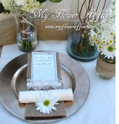 Wedding flowers and custom linens by My Flower Affair. www.myfloweraffai... wedding flowers, wedding decor, wedding flower centerpiece, wedding flower arrangement, bouquet rustic burlap country