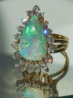 Fire opal and diamonds,